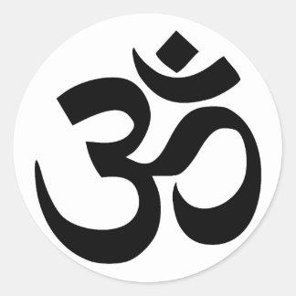 símbolo sagrado de OM en sánscrito Pegatina Redonda