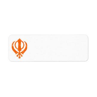 Símbolo sikh anaranjado rasguñado de Khanda Etiquetas De Remite