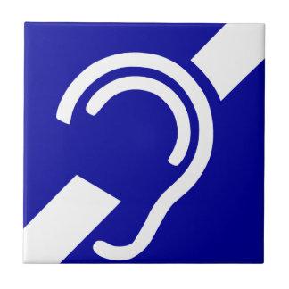 Símbolo sordo azulejo cuadrado pequeño