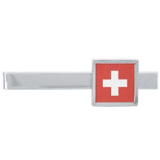 Símbolo suizo del orgullo del clip de lazo de la alfiler de corbata plateado