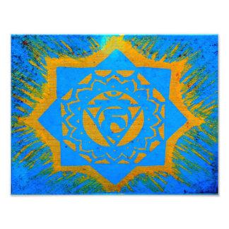 símbolo tantric tibetano azul del oro cojinete