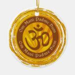 Símbolo tibetano de Aum del mantra Ornamento De Navidad