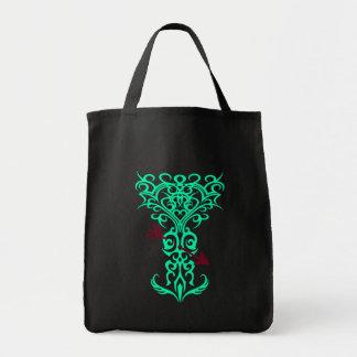 Símbolo tribal del árbol con la flecha ciánica bolsa tela para la compra