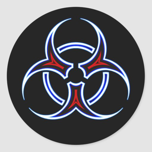 Símbolo tribal del Biohazard Pegatina Redonda