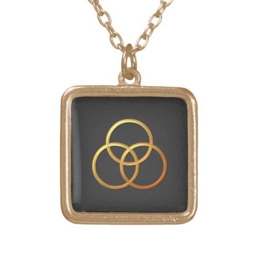 """Símbolo """"tridimensional"""" de oro de la trinidad pendientes personalizados"""
