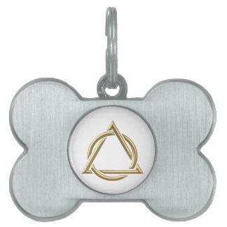 """Símbolo """"tridimensional"""" de oro de la trinidad san placa de mascota"""