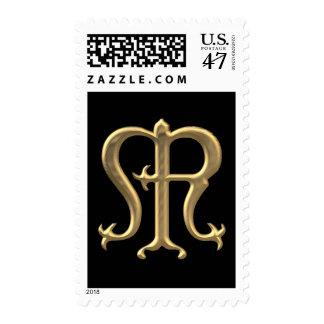 """Símbolo """"tridimensional"""" de oro del Virgen María Sellos Postales"""
