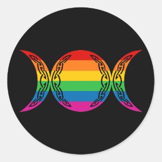 Símbolo triple de la diosa del arco iris etiqueta redonda