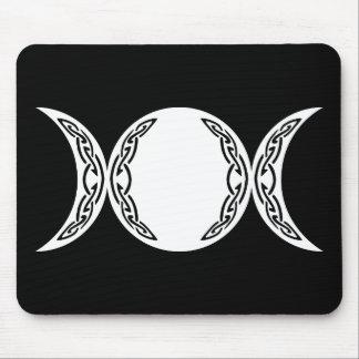 Símbolo triple de la luna de la diosa alfombrillas de ratones