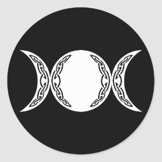 Símbolo triple de la luna de la diosa pegatina redonda