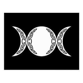 Símbolo triple de la luna de la diosa postal