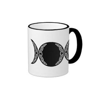 Símbolo triple de la luna de la diosa taza de dos colores