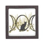 Símbolo triple de la luna - gato negro caja de recuerdo de calidad