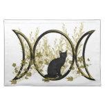 Símbolo triple de la luna - gato negro mantel individual