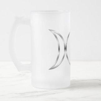 Símbolo triple pagano de la diosa de Falln Jarra De Cerveza Esmerilada