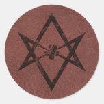 Símbolo Unicursal de Thelemic del Hexagram en el Etiquetas Redondas