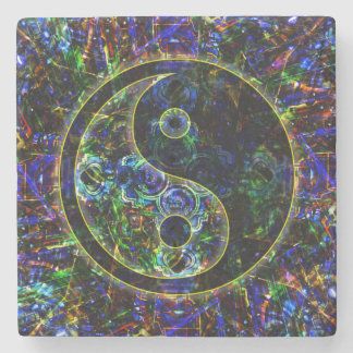 Símbolo urbano futuro metálico de Yin Yang del Posavasos De Piedra
