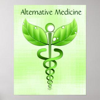 Símbolo verde alternativo ligero del caduceo de la póster
