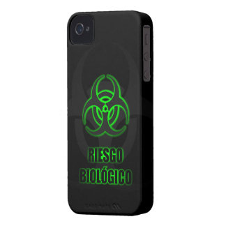 Símbolo Verde Brillante de Riesgo Biológico Case-Mate iPhone 4 Cobertura