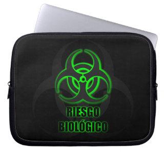 Símbolo Verde Brillante de Riesgo Biológico Laptop Computer Sleeves