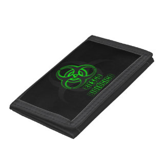 Símbolo Verde Brillante de Riesgo Biológico Tri-fold Wallet