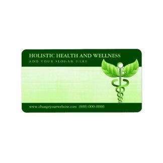 Símbolo verde claro de la medicina alternativa del etiqueta de dirección