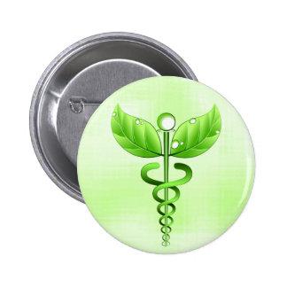 Símbolo verde claro de la medicina alternativa del pin redondo de 2 pulgadas