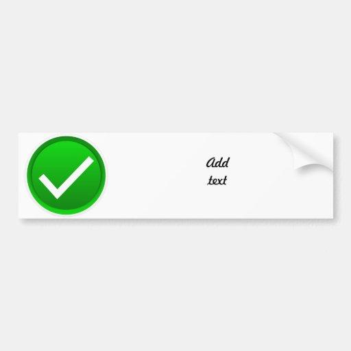 Símbolo verde de la marca de verificación pegatina para auto