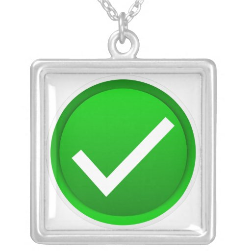 Símbolo verde de la marca de verificación colgante cuadrado