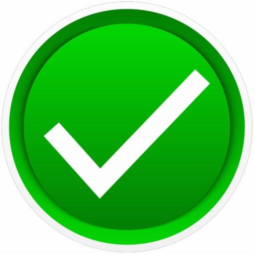 Símbolo verde de la marca de verificación esculturas fotograficas