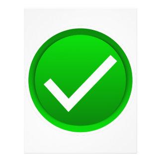"""Símbolo verde de la marca de verificación folleto 8.5"""" x 11"""""""