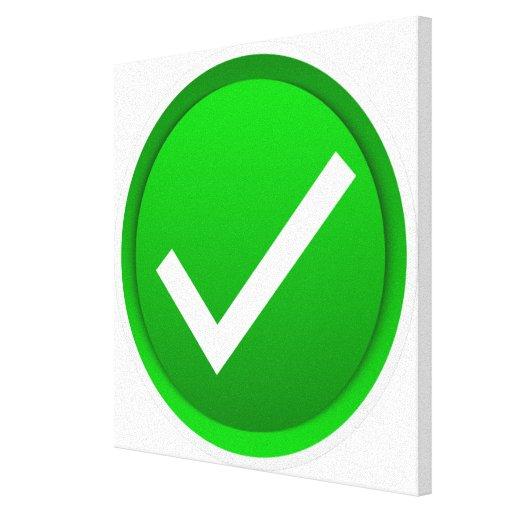 Símbolo verde de la marca de verificación lona envuelta para galerias