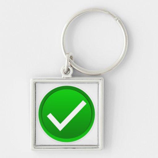 Símbolo verde de la marca de verificación llaveros personalizados