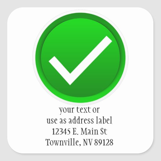 Símbolo verde de la marca de verificación pegatina cuadrada