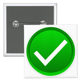 Símbolo verde de la marca de verificación pin