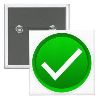Símbolo verde de la marca de verificación pin cuadrado