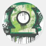 Símbolo verde de la pintada de la linterna etiquetas redondas