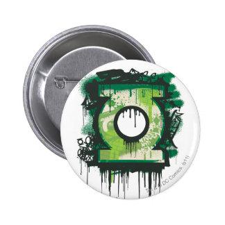 Símbolo verde de la pintada de la linterna pin redondo de 2 pulgadas