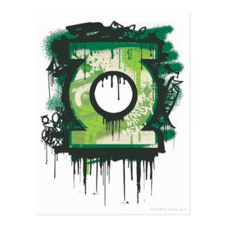 Símbolo verde de la pintada de la linterna tarjetas postales