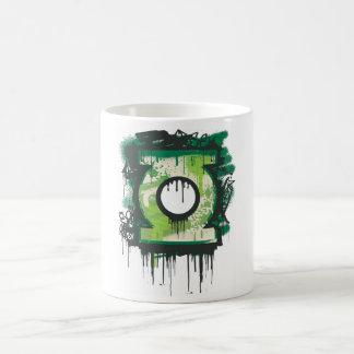 Símbolo verde de la pintada de la linterna taza
