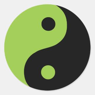 Símbolo verde de Yin Yang Pegatinas Redondas