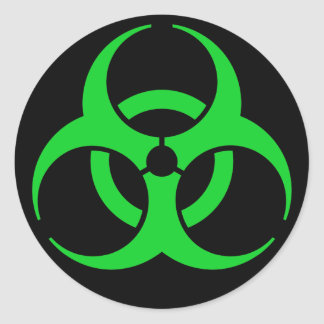 Símbolo verde del Biohazard Pegatina Redonda