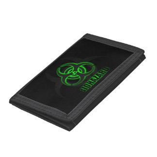 Símbolo verde del Biohazard que brilla intensament