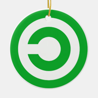 Símbolo verde del public domain de Anti-Copyright Adorno Navideño Redondo De Cerámica
