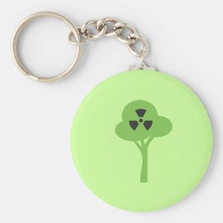 Símbolo verde radiactivo llavero redondo tipo pin