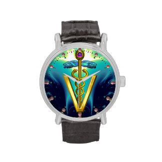 SÍMBOLO VETERINARIO del CADUCEO DE ORO/azul de la  Relojes De Pulsera