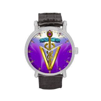 SÍMBOLO VETERINARIO/púrpura del CADUCEO DE ORO Reloj