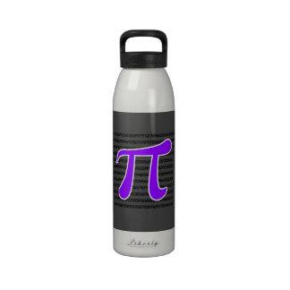 Símbolo violeta de la púrpura pi botella de agua