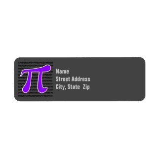 Símbolo violeta de la púrpura pi etiqueta de remite