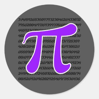 Símbolo violeta de la púrpura pi pegatina redonda